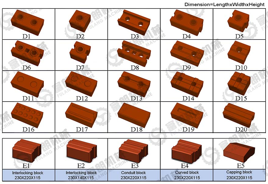 interlocking brick samples for your choice